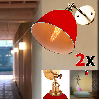 2x Pendant VINTAGE ANTIQUE WALL LIGHT LAMP INDUSTRIAL SCONCE LOFT E27 LED BULB