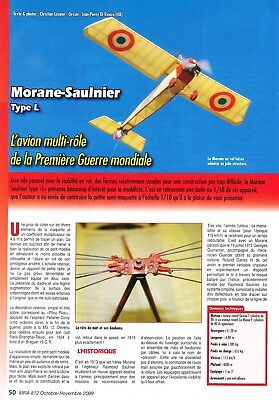 "Plan RC elektro semi Scale ""Morane L Parasol"" model WW-I Airplane Plan"