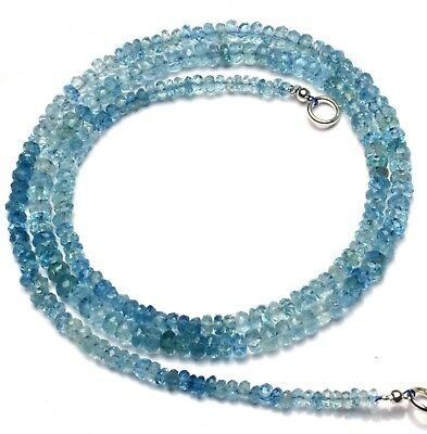 """Natural Gemstone Faceted Aquamarine 3 to 4MM Rondelle Beads Necklace 20"""""""