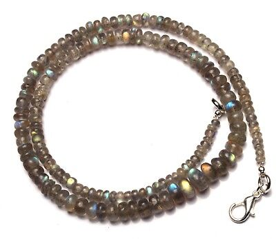 """Natural Gem Blue Fire Labradorite 4 to 7MM Smooth Rondelle Beads Necklace 16.5"""""""