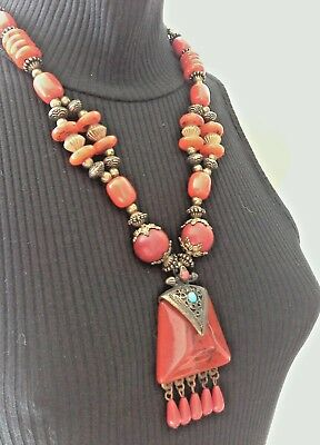 Faux Red Coral & Turquoise Resin Stone Beaded Necklace Navajo Egyptian Revival