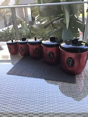 "Vintage Retro Aluminium Kitchen Canister set of 5 Jason ""Model Maid""."