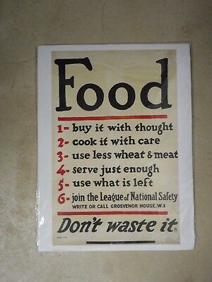 Don't Waste Food Poster WWII 1939-1945 NEW PRINT Churchill War Rooms London