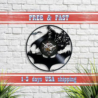 Dark Knight Batman Art Vinyl Record Wall Clock Vintage Xmas Gift For Boy Kids