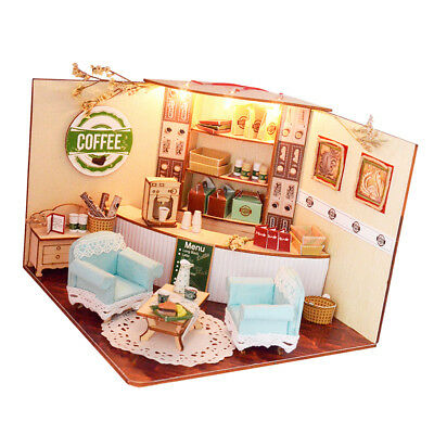 DIY Wooden Dollhouse Miniature Kit w/ Furniture, LED Light Coffee Shop Gifts
