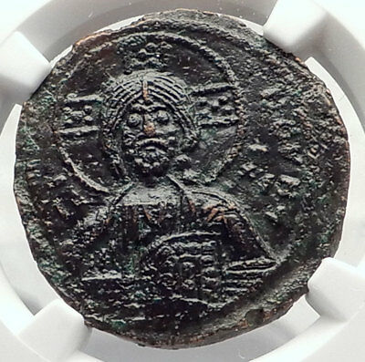 JESUS CHRIST Class A3 Anonymous Ancient 1020AD Byzantine Follis Coin NGC i72351