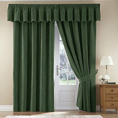 Forest Green  Velour Thermal Ready Made Blackout Curtains Pencil Pleat  Lined