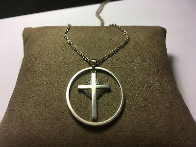 Vintage Lamode sterling silver Cross with outer circle necklace