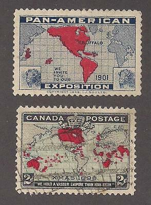 1901 Pan American Exposition Expo Label + 1898 Canada Christmas Stamp