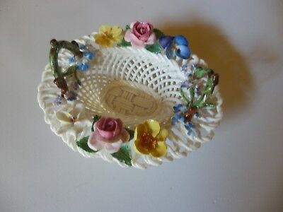 CROWN STAFFORDSHIRE ENGLAND OVAL WEAVED BASKET w/FLOWERS HANDLES EXC