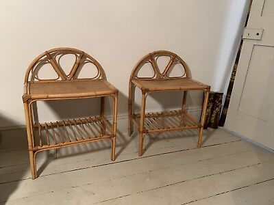 Pair Of Midcentury Bamboo Rattan Bedside Tables Stands Shelves Boho Tiki