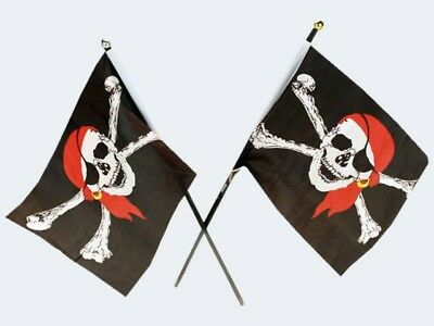 BSW Piratenflagge 20x14cm Stoff/Holzstab 47740