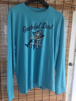 Mens Large Grateful Dad Long Sleeve Shirt Blue Life Is Good NWT New