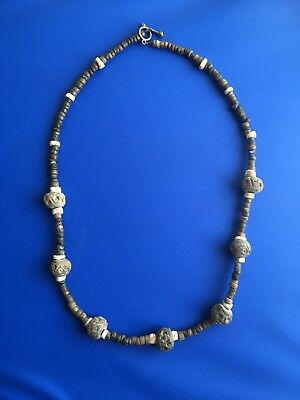 Pre Columbian hand cut Stone And  whorl bead necklace