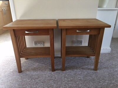 Lovely Pair of Solid Oak Bedside Tables or Lamp Tables