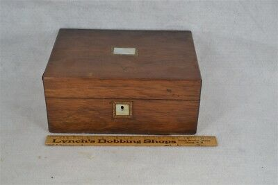 sewing box Victorian mahogany fitted divided pearl inlay original 1800 antique