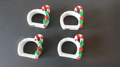 "Candy Cane Napkin Rings ~ Set of 4 ~ 1.25"" Hole Opening ~ Porcelain~Christmas"
