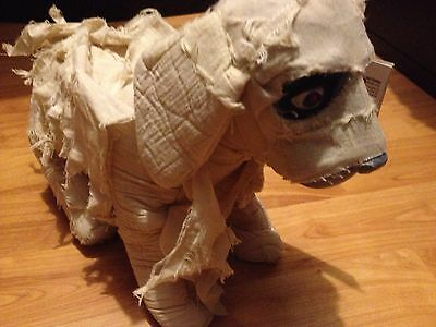 ANIMATED BARKS LUNGING MOVING MUMMY DOG gemmy PROP Eyes Light Up RED HAUNTED
