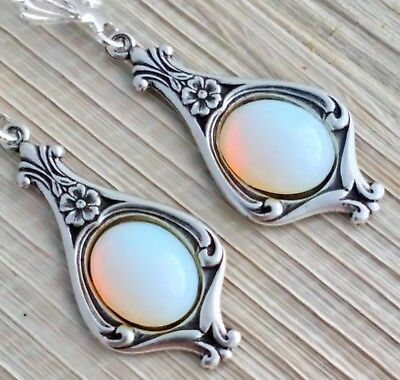 Vintage - 1950s CZECH Milky White Glass Opaline Art Nouveau Style Earrings