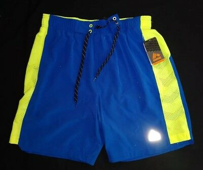 fea4ae43ec3d5 Men's RBX Active Wear Swim or Gym Shorts Lined Blue Neon Yellow Sz S