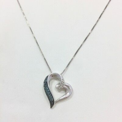 Modern Blue Diamond Accent Heart Pendant Necklace 17 7/8 In Sterling Silver 925