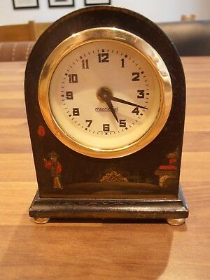 Antique Mercedes Bedroom Mantel Clock depicting Chinese scene to front case