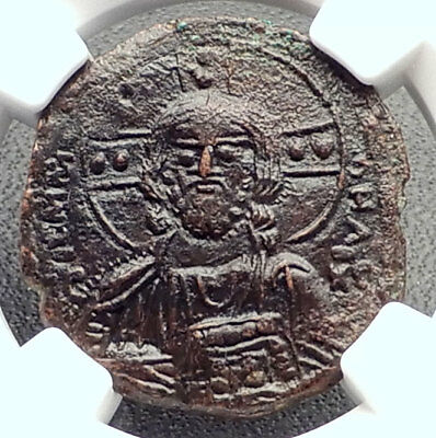 JESUS CHRIST Class A3 Anonymous Ancient 1020AD Byzantine Follis Coin NGC i72357