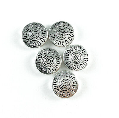 Antique Silver Plated Lead Free Alloy 13mm Sun Design Coin Beads Q20