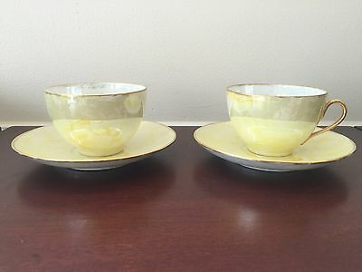 MZ Altrohlau Teacup and Saucer CMR Yellow Antique Set Of 2 1918 -1939s