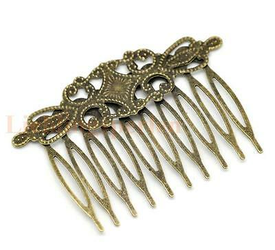 4 pcs Antique bronze small hair comb with filigree hair accessories findings
