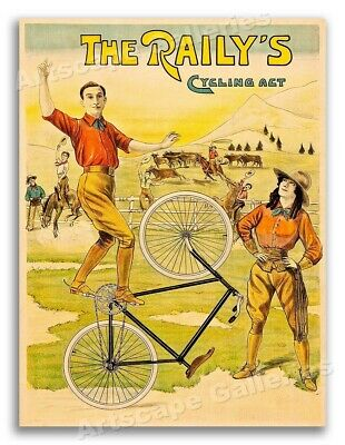 "1890s ""The Raily's Cycling Act"" Vintage Style Bicycle Acrobat Poster - 20x28"