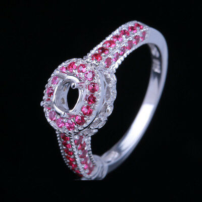 6x4mm Oval Semi Mount Diamonds Rubies Jewelry Solid 10K White Gold Wedding Ring