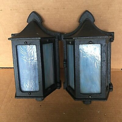 Pair Outdoor Porch Sconce Lights Blue Slag Glass