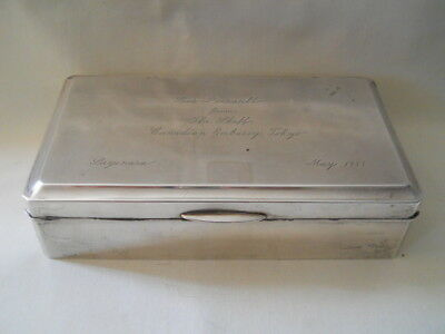 950 Sterling Silver Wood Lined Presentation Cigarette Box Case 7.25""