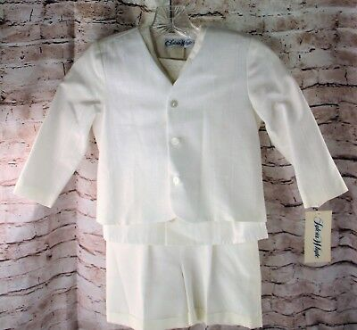 Vintage Sylvia Whyte Suit Boys Size 5 Blazer Short Sleeve Shirt Overall Shorts