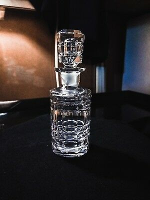 VINTAGE Mid-Century LEAD CRYSTAL CLEAR CUT Perfume Scent Vanity Bottle w Stopper