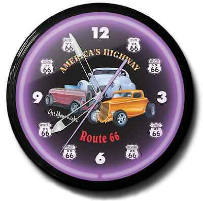 Route 66 Hot Rod Neon Clock Hand Made In The USA 20 Inch Black Purple