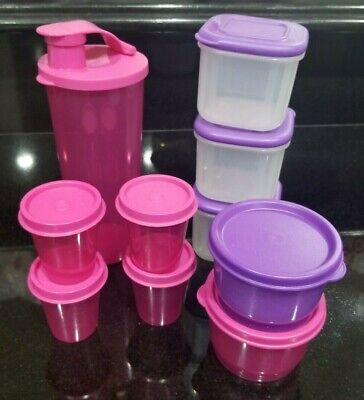 NEW Tupperware lot 16 oz Tumbler, snack cups, midgets, clear square, Pink Purple