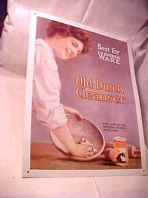 "Vintage tin sign Old Dutch Cleanser Best for Wooden ware 13 1/2"" x 10 3/4"""