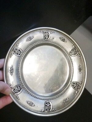 "Vintage Wallace Sterling Silver Rose Point pattern 6 6/8"" plate"