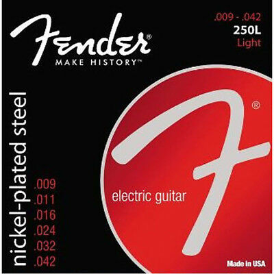 Fender 250L Nickel Plated Steel Electric Guitar Strings (09-42) +Picks