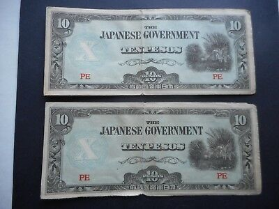 Japanese Occupation Money (2) 10 Peso Notes