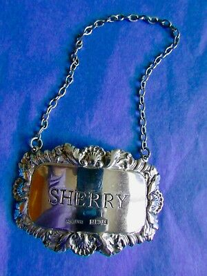 Sterling Silver SHERRY Decanter Label Birmingham 1922 Hallmarked