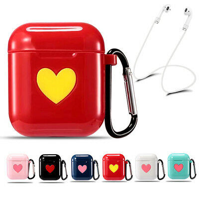 For Apple AirPods Earphones Silicone Protective Cover Case With Anti Lost Strap