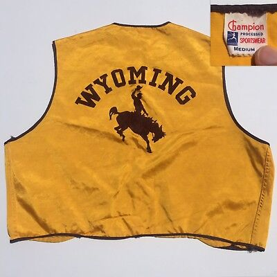 Vintage 1950s 60s Champion Running Man Wyoming Rodeo Western Vest Sz Medium