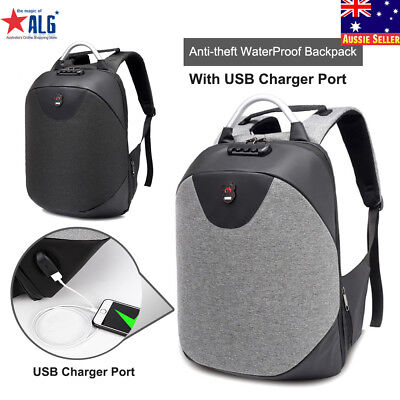 Anti-theft WaterProof Backpack School Casual Travel Bag with USB Charger Port