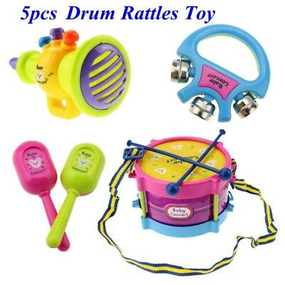 5pcs/Set Baby Kids Toddler Developmental Educational Toy Infant Drum Rattles Toy
