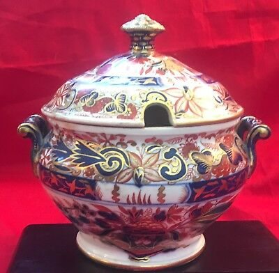 "Antique Royal Crown Derby Imari Decorated Soup Tureen (6"" tall)"