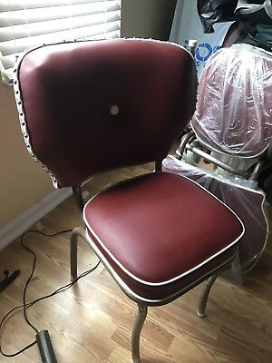 Vintage Reupholstered Leather Dining Chairs Red (Set Of 4)