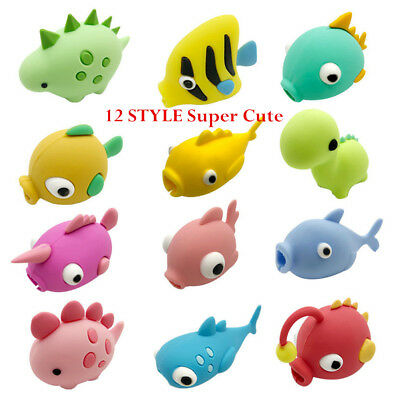 1/3/5/10PCS Cartoon Animal Cable Bite Cute Phone Charger Protector Soft Cord LOT